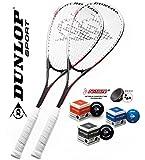 DUNLOP 2x Powersmash Squashschläger inkl. 3x Squashbällen (blau rot gelb) ! Squashset ist perfekt...