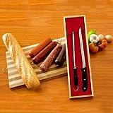 Schinkenmesser Set mit Messerschärfer im Holzetui, 22 cm Klinge