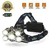 Kopflampe LED Stirnlampe, Wiederaufladbar 8000LM Wasserdicht, Fokus Verstellbar, 5 Helligkeits-Modi,...