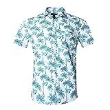 Nutexrol Herren Strand Hawaiihemd Kurzarm Urlaub Blattaufdruck-Hemd Blau 3XL