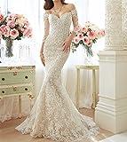 HAPPYMOOD Frau Brautkleid Hochzeitskleider Spitze Meerjungfrau Schatz Applique Perlen Brautkleid...