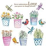 WandSticker4U- Wandtattoo 'Blumen Töpfe I' im Wasserfarben Look | 180x90 cm | Vogel Libelle...