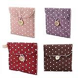 EQLEF® 4 Stück Damenbinden Taschen mit Punkten Geeignet für Shop Damenbinden Girls 'Lieblings