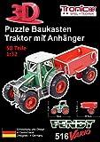 Tronico 30010 - 3D Puzzle Baukasten - Traktor Fendt 516 Vario mit Anhänger, Maßstab 1:32, grün,...