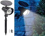 Royal Gardineer PIR-Solarstrahler LED: 2in1-Solar-LED-Wand- und Wegeleuchte mit Licht-Sensor und...