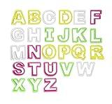 ilauke 26tlg. Fondant Buchstaben Ausstecher groß Ausstechform Modellierwerkzeug farbig Alphabet...