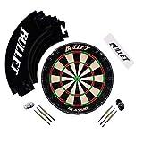 Bullet Großes Dart Turnier Set, Dartboard aus Brasilianischen Sisal, 6 Steeldarts, Surround Ring...