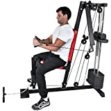 TrainHard Mini Kraftstation Home Gym Kabelzugstation Fitnessstation mit Verstellbaren Auslegerarmen...