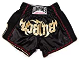 Lumpinee Retro Muay Shorts, Thai-Kampf/Kickboxen, damen Herren Kinder, schwarz