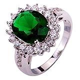 Yazilind Lady Silber überzogener Blumen-Form Smaragd Zircon Ring für Frauen Geschenk Size7