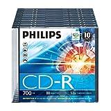 Philips CD-R Rohlinge (700 MB Data/ 80 Minuten, 52x High Speed Aufnahme, 10er Slim Case)