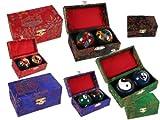 1 Paar Qi Gong Kugeln - Klangkugeln - Hebei verschiedene Motive in attraktiver Geschenkbox Quibong