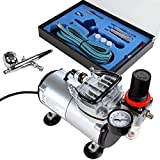 Timbertech Airbrush-Set mit Kompressor, Double Action-Airbrush-Pistole und Zubehör (Düsen,...