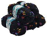 Alize Maxi Flower 5 x 100 Gramm Wolle mit Farbtupfer, 500 Gramm Effektwolle (schwarz terrakotta...