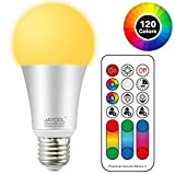 Jayool LED Farbige Leuchtmittel Lampe mit Fernbedienung, 10W E27 Base Dimmbare Birne, 120 Farben,...