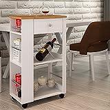 Style home Küchenwagen Rollwagen Haushaltswagen Servierwagen Getränkewagen Weiß Bambusholz...