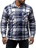 Herren Fleece Jacke Holzfäller Hemd Thermo Flanell Sweat Shirt H2070,Grau-Weiß,M