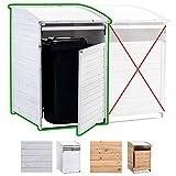 CLP Mülltonnenbox Holz 240 Liter, 1 Tonne, aufklappbares Dach, Tür mit Verschluss Mülltonnenbox...