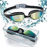 ZetHot Schwimmbrille Schwimmbrille mit flexiblem Weichen Nasenstück und Farbiger Spiegellinse,dicht...