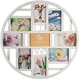 Smartfox Bilderrahmen Fotorahmen Collage für 9 Bilder im Format 10x15 cm in Weiß, Durchmesser: 52...