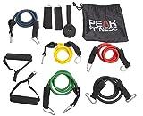 Peak Fitness Spannbänder Set mit Türanker, Fesselriemen, Trainingplan, und Transporttasche –...