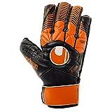 uhlsport Herren Eliminator Soft Advanced Torwart-Handschuhe, Schwarz/Dark Orange/Weiß, 9.0