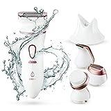 Lavany Elektrischer Damenrasierer und Gesichtsbürsten Set, 4-in-1 Ladyshaver für Nass- und...