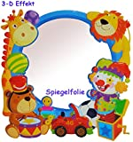 3-D Effekt _ Kinder Spiegel / Wandspiegel mit Spiegelfolie - ' Spielzeug / Tiere - Auto ' -...