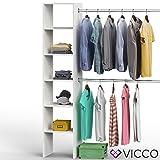 VICCO Kleiderschrank VISIT 190 x 140 cm Weiß Sonoma Eiche - offen begehbar Kleiderständer...