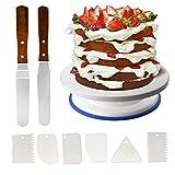 Klion Tortenständer Kuchen Drehteller Tortenplatte drehbar Cake Decorating Turntable mit 6Pcs Icing...