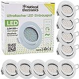 National Electronics Slim Line Einbauspot in weiß mit nur 25mm Einbautiefe! | 9er Set Deckenspot...