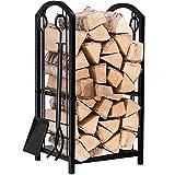 Kaminholzständer mit 4 Werkzeugen, für Innen- wie Außenbereich, Kaminholz-/Brennholzständer,...