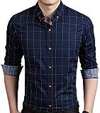 AIYINO Herren Casual Hemd Slim Fit Langarm Shirts Freizeit Baumwolle 5 Farben Größen XS-XL...
