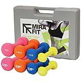 MiraFit 10kg Kurzhantel-Gewichtsset mit Tragekoffer - Gelb/Blau/Orange/Rosa