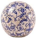 Esschert Design Blau-Weiß Keramik Dekokugel, Gartenkugel, Gartendeko, Beetkugel, 12 cm Durchmesser