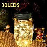 Nasharia Solar Mason Jar Licht, Jar Fee Licht Außen, 30 LED String Licht Glasgläser Garten...