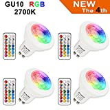 LED Lampe GU10 RGB+Warmweiß Farbwechsel Spot Licht Dimmbar 3W, 200LM, AC 85V - 265V, mit...