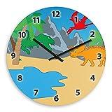 Wanduhr mit Dinosaurier-Motiv für Kinder | Kinderzimmer-Uhr | Kinder-Uhr