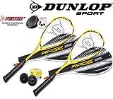 DUNLOP Squashset 2x Rage25 Squashschläger inkl. Squashball 200g 500cm²