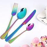 Wanxida 4-teilig Besteck Set Bunt Romantisch Abendessen Set Hochzeit Reise RainbowFlatwareSet...