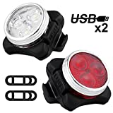 Solocil Fahrradlicht LED Set, USB Wiederaufladbare LED Fahrradlichter Set LED Frontlicht und...
