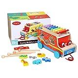 Miric Xylophon für Kinder, Nachziehspielzeug mit Bunten Metalltasten, Schlaginstrument für Kinder.