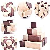 B&Julian 3D IQ Holzpuzzle 10 Puzzle Set aus Holz Knobelspiele Geduldspiel Rätselspiel...