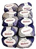 10 x 50 Gramm Metallic-Wolle blau grau, 500 Gramm Wolle 400-14 zum Stricken und Häkeln