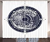 ABAKUHAUS Kompass Rustikaler Vorhang, See-Navigation große Welle, Wohnzimmer Universalband Gardinen...