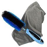 CAR4GOOD ® Felgenbürste mit Mikrofasertuch zur effektiven Reinigung von Stahl- und Alufelgen -...