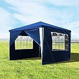 wolketon Pavillons 3x3m Gartenpavillon mit 4 Seitenteile Blau Partyzelt für Camping Hochzeit und...