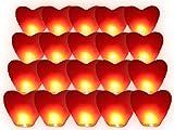 Alsino Himmelslaternen Skylaternen Skyballons Herz rot   20 Stück, nicht entflammbar Höhe: ca. 110...