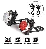 Terrchy Wiederaufladbare LED Fahrradlampe Set,USB Aufladen Wasserdichte Frontlicht und Rücklicht...