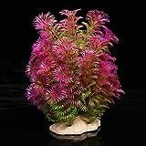 TOOGOO(R) Kunstpflanze 15-20CM Aquarium Dekoration Wasserpflanze violett+gruen
